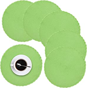 homing Round Placemats Set of 6 for Dining Table – Woven Heat Resistant Cotton Kitchen Table Mats 14 Inch, Easy to Care, Pure Color, Apple Green