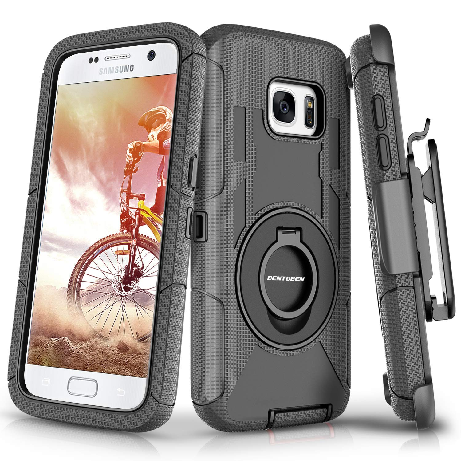 Galaxy S7 Case, S7 Case, BENTOBEN 4in1 Hybrid Shockproof Heavy Duty Rugged Full Body Protective Cover Built-in Rotating Kickstand Swivel Belt Clip Holster Case for Samsung Galaxy S7- Black