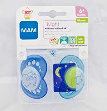 MAM Night 2 x Chupetes 6m+ (Azul Oso de peluche): Amazon.es: Bebé