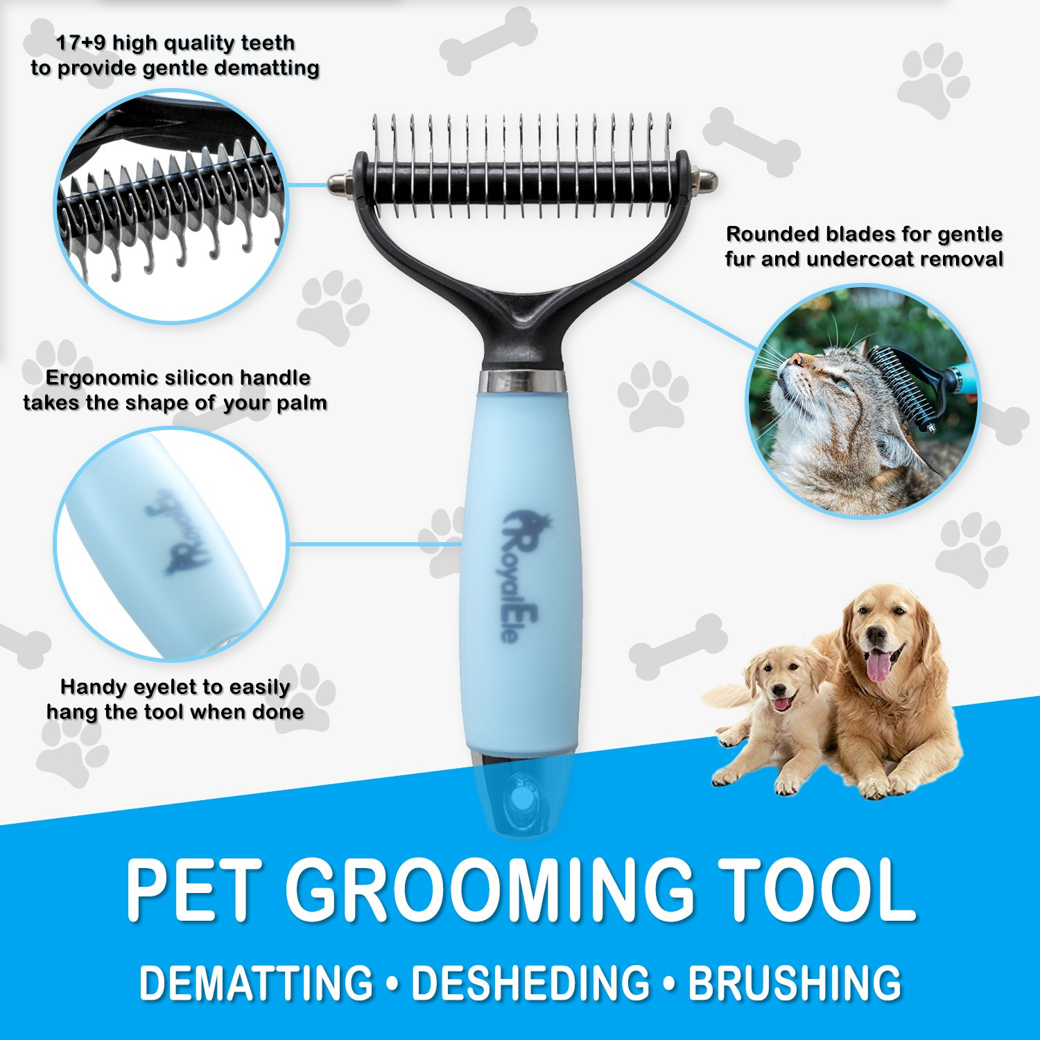 Professional Grade Dematting Comb for Cats & Dogs | 2 Sided Pet Grooming Tool with Round Blades | Easy Removal of Undercoat Mats & Tangles | Safe Massaging Rake | No More Shedding Hair by RoyalEle (Image #5)