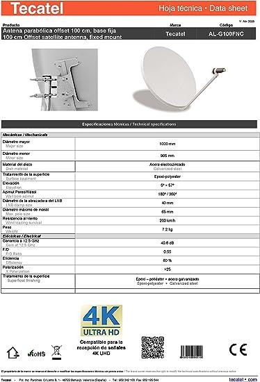 Tecatel K100C1LS - Kit parabólica 80 cm, Soporte y LNB ...