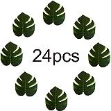 iLoveCos Feuilles de Palmiers Tropicaux Simulation feuille artificielle pour de décoration Hawaiian Luau partie Jungle Beach thème décorations fêtes fournitures,Paquet de 24