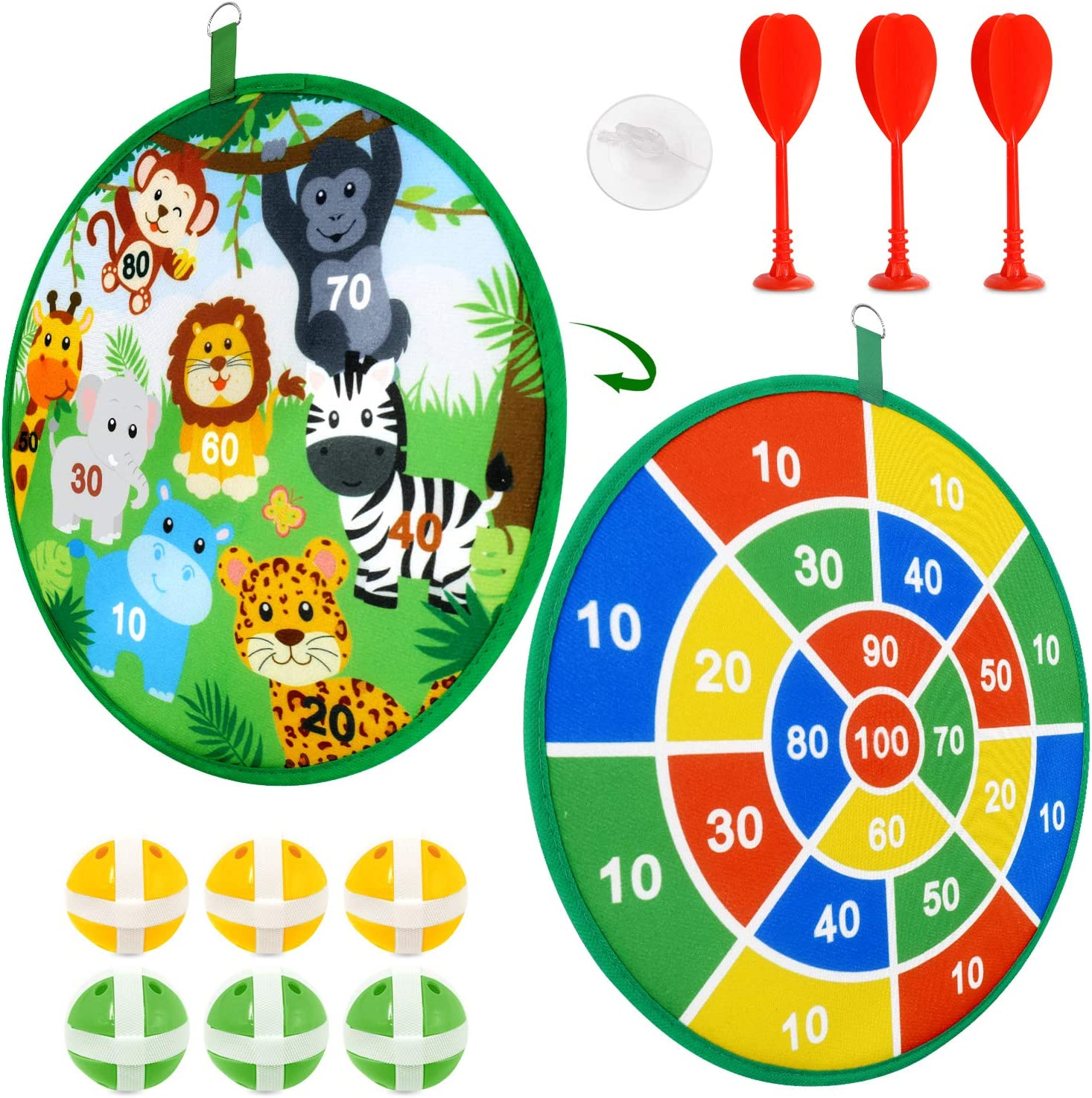 Kids Game Dart Board Set with 6 Sticky Balls and 3 Magnetic Throwing Darts Safe Classic Indoor Outdoor Dartboard Games for Halloween Christmas Party Interactive Games Gift for Kids Adults Family