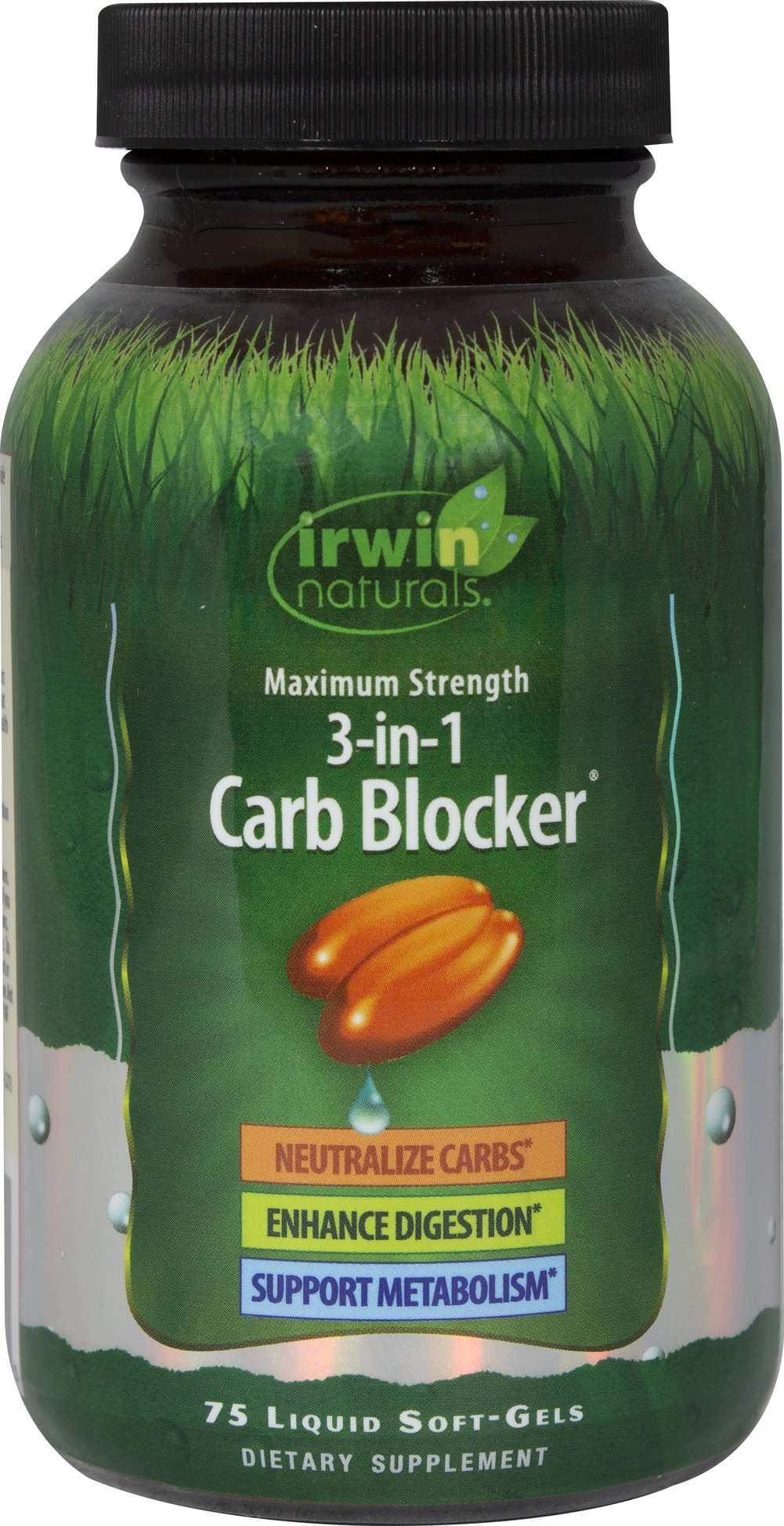 Maximum Strength 3-in-1 Carb Blocker by Irwin Naturals, Neutralize Carbohydrates and Support Metabolism, 75 Liquid Softgels by Irwin Naturals