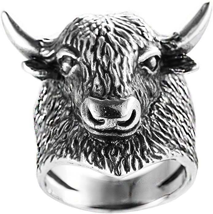 LEROJASS Mens Stainless Steel Cubic Zirconia Taurus Bull Tribal Finger Rings Vintage Bull Head Rock Hip Hop Ring Bands CZ Stones Inlaid Punk Style Animal Jewelry for Man Boys