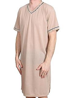 9531ee174e935c Herren Nachthemd KURZ UNIFARBEN Schlafanzug Pyjama Sleepshirt NACHTWÄSCHE  Baumwolle GRÖSSE: L XL XXL XXXL
