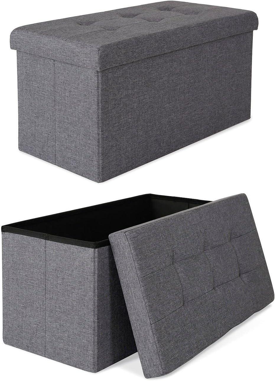 dibea Tabouret pliable en lin banc coffre de rangement 76x38x38 cm couleurs différentes
