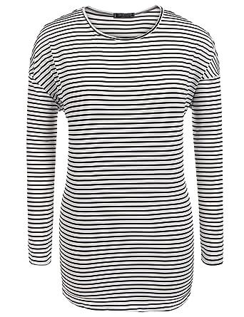 21b15fceab8cd ... IN VOLAND Womens Plus Size Long Sleeve O Neck Slim Fit Striped T