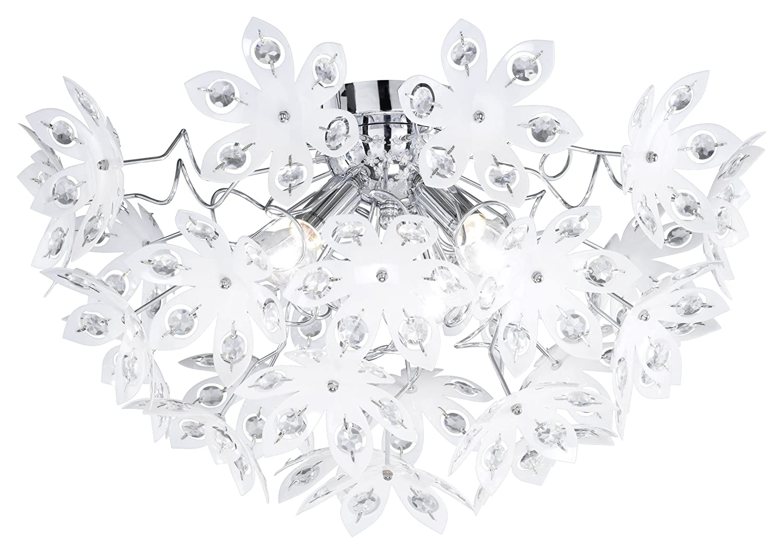 Reality Leuchten Deckenlampe chrom, Acrylblüten weiß mit klaren Steinen, Durchmesser  55 cm Höhe  30 cm, 3 x E14 maximal 40W, ohne LM R61903001