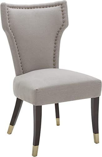 Amazon Brand Stone Beam Kitchen Dining Chair with Brass Nailhead Trim, 39 H, Slate