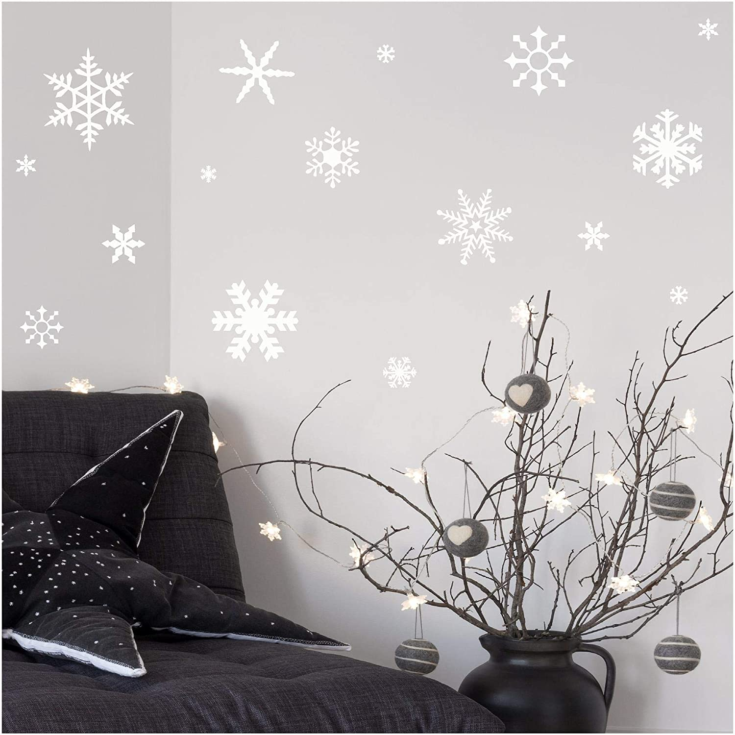 Wall Sayings Vinyl Lettering (White) Small Snowflakes Set of 30 Decal Home Decor Art Quote Sticker (White)