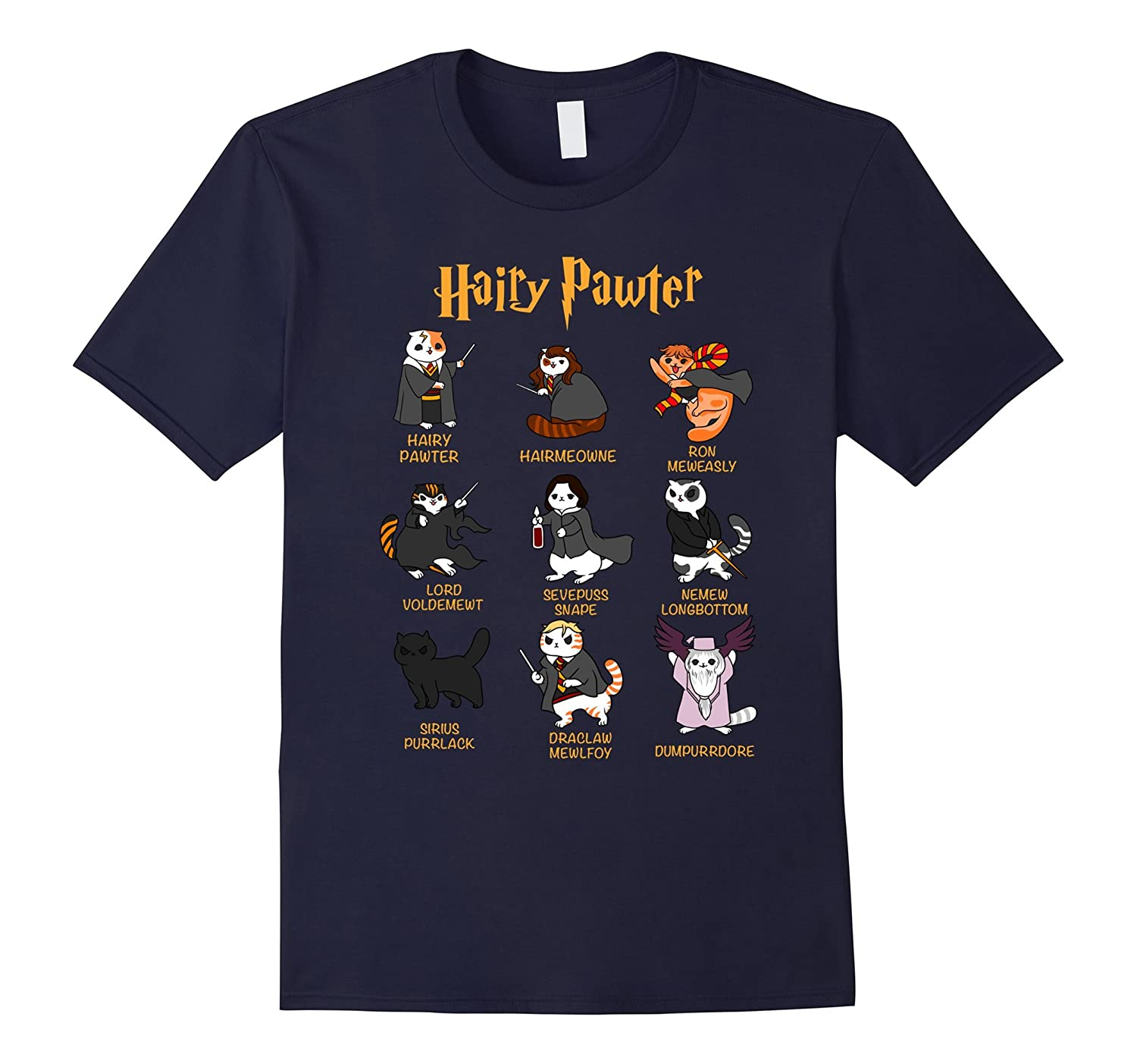 Vintage Funny Hairy Pawter T Shirt - T Shirt For Cat Lovers-TD
