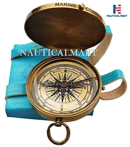 By NauticalMart /… Robert Frost Poem Compass With Leather Case