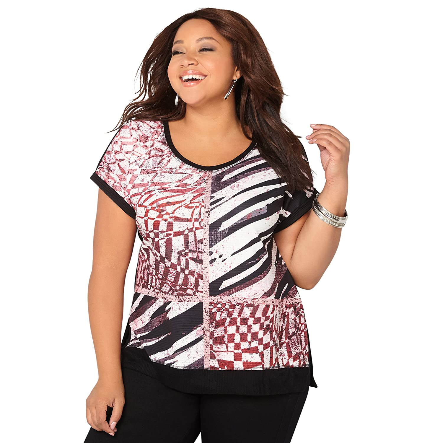 AVENUE Women's Abstract Textured Dolman Top