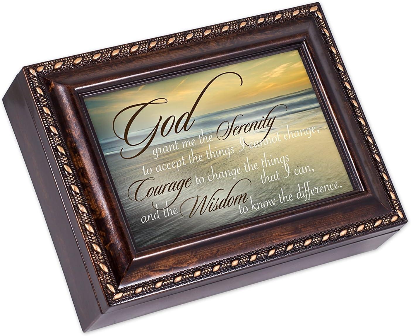 Cottage Garden Serenity Prayer Ocean Waves Burlwood Finish Jewelry Music Box Plays Amazing Grace