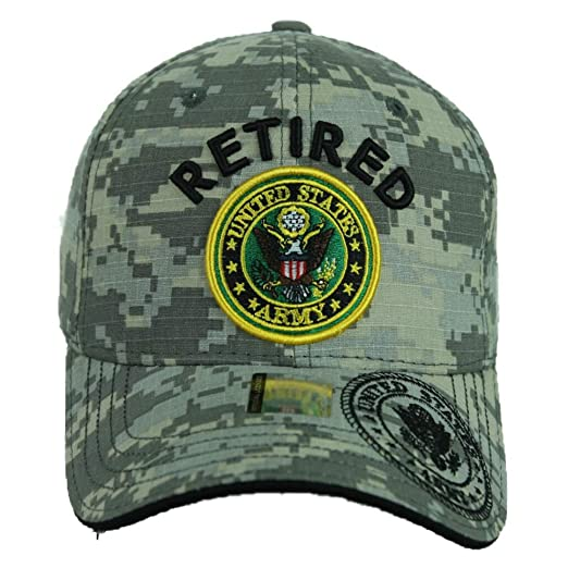 e179f278d15565 USA Army Baseball Cap US Flag Army Veteran Retired Hats Official Licensed CAMO  Hat (ACM-Retired) at Amazon Men's Clothing store: