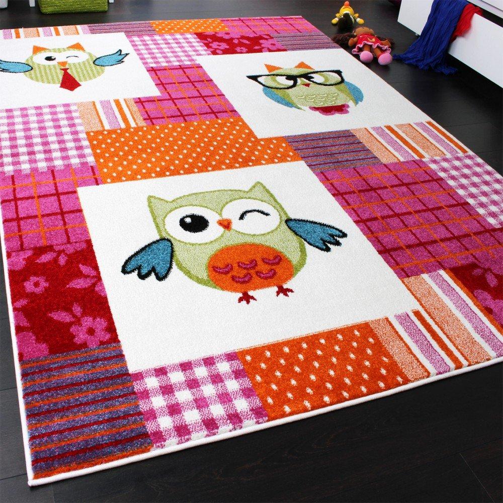 Tapis Chambre d\'Enfant Moderne Chouette à Carreaux Multicolore Rose ...