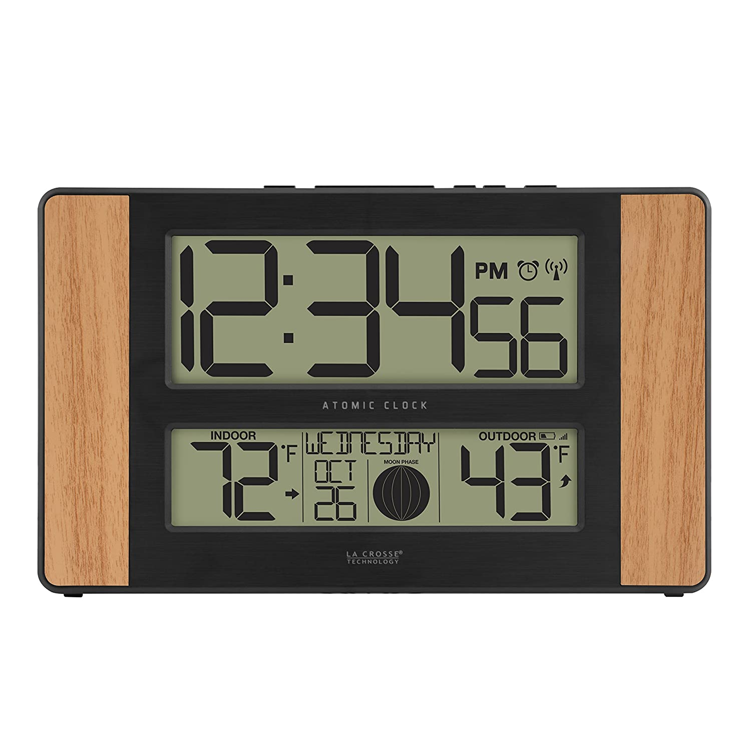 La Crosse Technology 513-1417 Atomic Digital Clock with Outdoor Temperature, Oak Finish