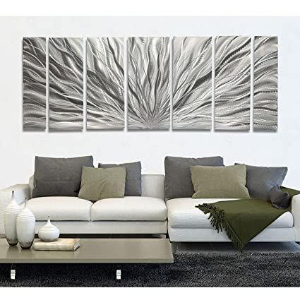 Amazon.com: Extra Large Silver Metal Wall Art, Panel Art - Modern ...