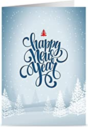 One Jade Lane - Winter White, Happy New Year Cards, 5x7, Heavy Stock, Set of 18 Holiday Cards & Envelopes.