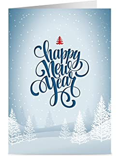 one jade lane winter white happy new year cards 5x7 heavy stock