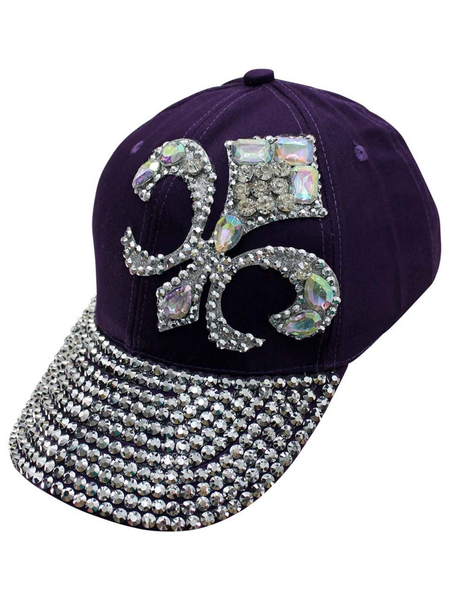 Luxury Divas Purple Baseball Cap with Rhinestone Fleur De Lis by Luxury Divas