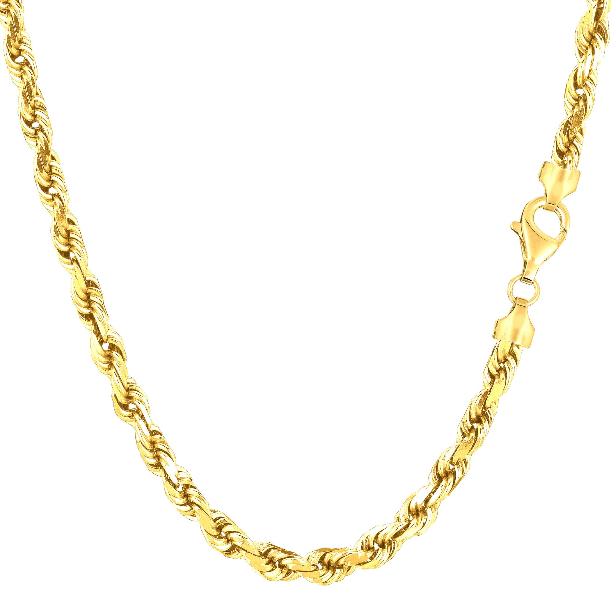 14k Yellow Gold Solid Diamond Cut Royal Rope Chain Necklace, 4.0mm, 20''