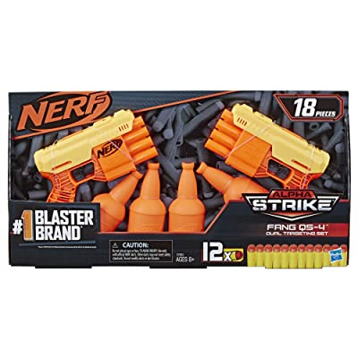 NERF Alpha Strike Fang QS-4 Two Blaster Set 18 Piece Dual Target: Toys & Games