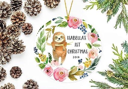 Amazon Com Slobyy Sloth Ornament Christmas Wreath Personalized