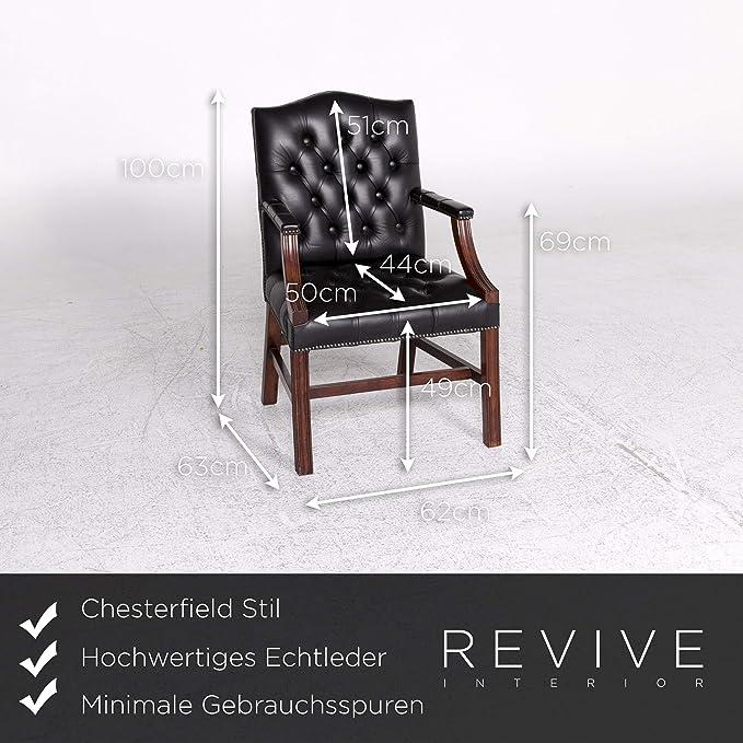 Chesterfield Leather Armchair Black Chair: / SANAA: Amazon ...