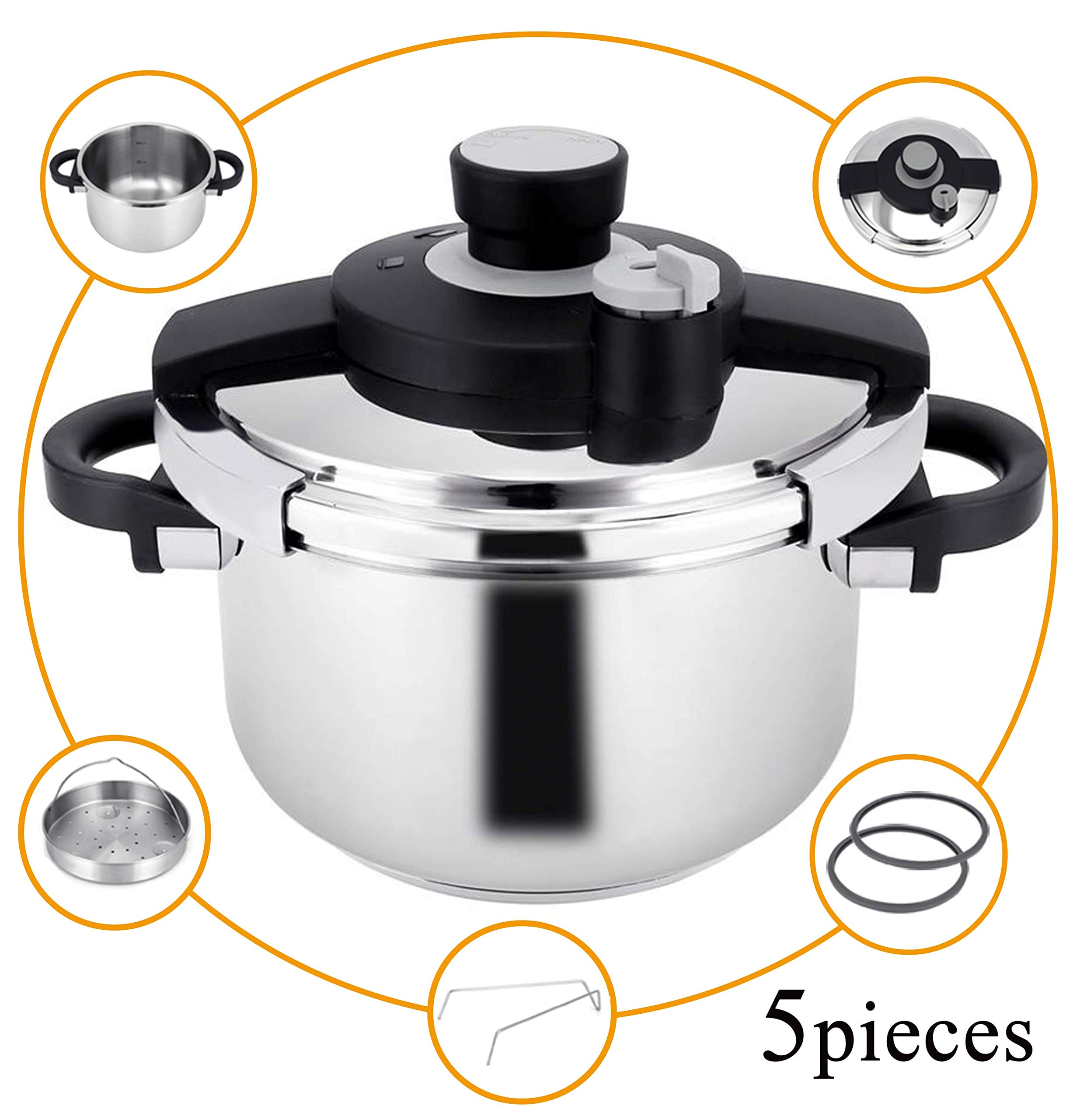 Z&L 6Quart 5.7L Stainless Steel Pressure Cooker with One-hand System,7psi/12psi Settings Premium Stove Top Pressure Cooker Work with Stove Top,Induction Base,Gas Stove Cookware.(Accessories included)