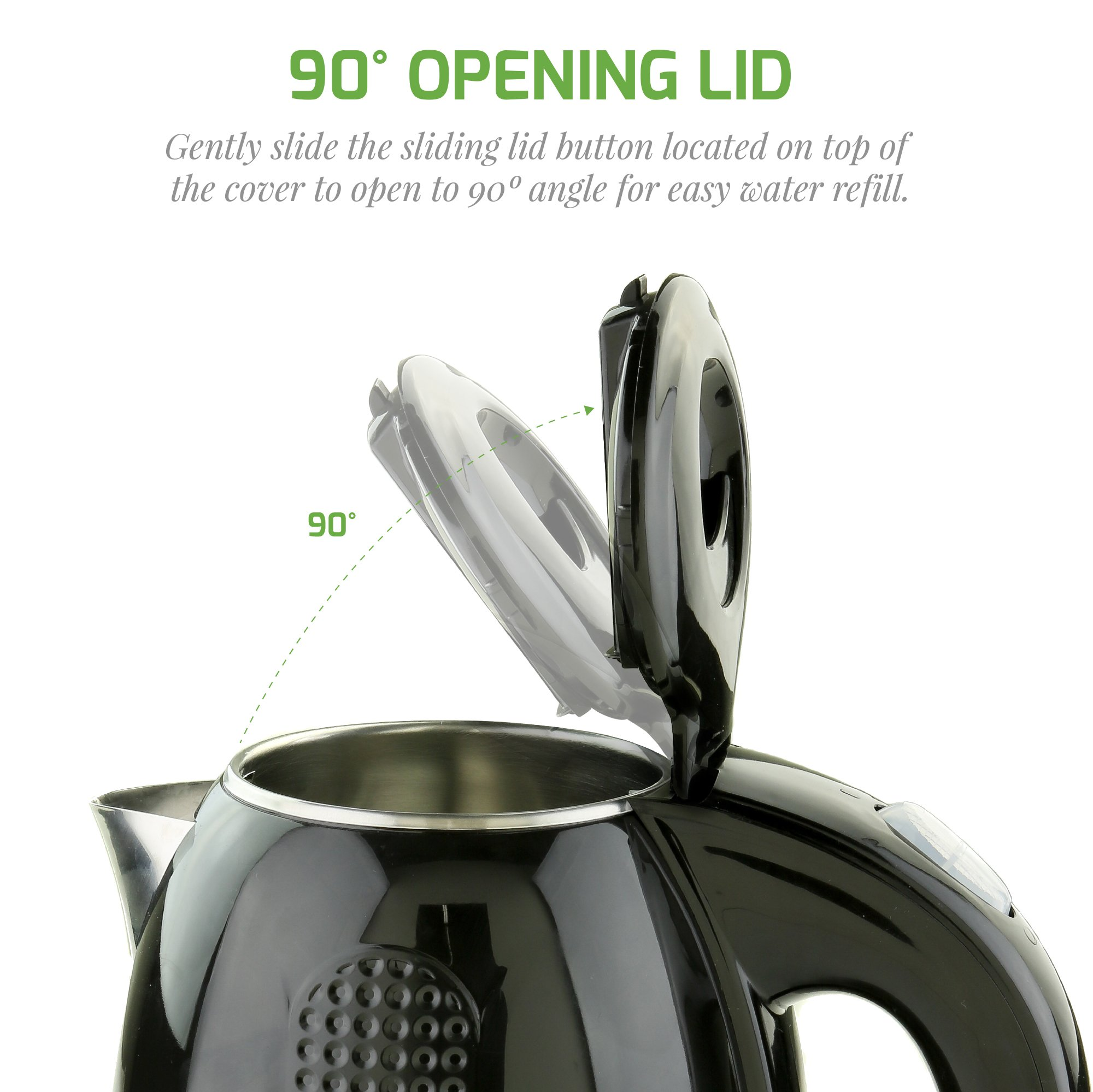 Ovente 1.7L Electric Kettle, Double Wall 304 Stainless Steel Water Boiler, Auto Shut-Off and Boil-Dry Protection, Stay-Cool Exterior, BPA-Free, Cordless, Black (KD640B) by Ovente Kitchen (Image #4)