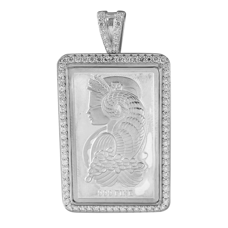Lady Designer Pendant 14k White Gold Finish Over Sterling Silver Lab Diamonds Custom