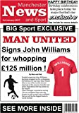 Personalised Man Utd Inspired Newspaper Effect A4 Poster for Framing - Great !