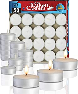 Ner Mitzvah Tea Light Candles - 50 Bulk Pack - White Unscented Travel, Centerpiece, Decorative Candle - 4.5 Hour Burn Time - Pressed Wax