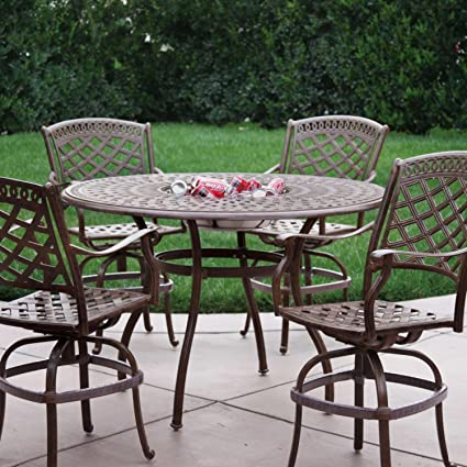 Darlee Sedona 5 Piece Cast Aluminum Patio Counter Height Bar Set With  Swivel Bar Stools