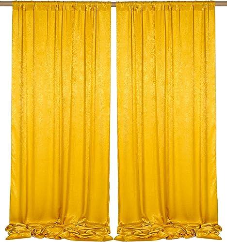 SHERWAY 2 Panels 4.8 Feet x 10 Feet Gold Thick Satin Backdrop Drapes