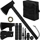 iunio Camping Axe, Hatchet with Sheath, Multi-Tool, Camp Ax, Survival Gear, Folding Portable Tools, for Hiking, Backpacking,