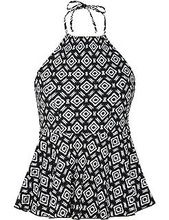 f903a38a66900 Hilor Women's High Neck Tankini Swimwear Halter Swimsuit Ruffle Hemline Swim  Tops