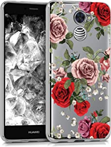 BAISRKE Huawei Ascend XT2 Case, Huawei Y7 Prime Case with Flowers Slim Shockproof Clear Floral Pattern Soft Flexible TPU Back for Huawei Y7 Prime/Ascend XT2 H1711 / Elate 4G LTE [Red]