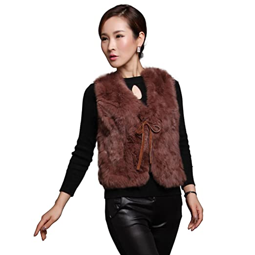FEISSI Women s Real Rabbit Fur Vest with Wool Knitting Back (Small) 074def5dcc