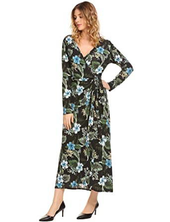 a962dc0baf4 Womens Casual Wrap Split V Neck Long Sleeve Floral Printed Lace up Flowy  Party Maxi Dress with Belt at Amazon Women s Clothing store