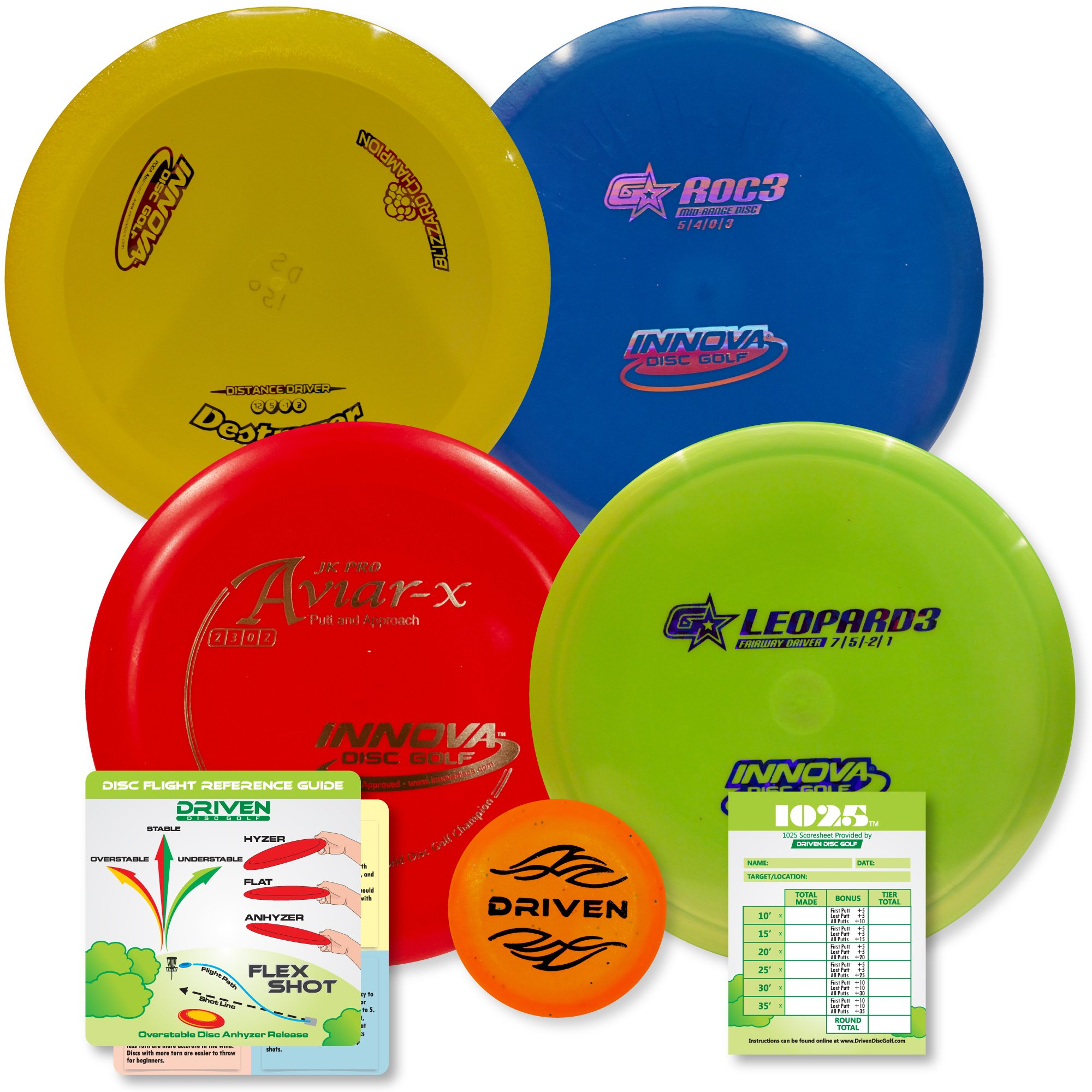 Innova Disc Golf Advanced Players Pack   Premium 4 Disc Set - for Intermediate and Experienced Players - 1025 Putting Game - Flight Reference Card - Driven Mini Marker   Disc Colors Vary by Driven Disc Golf