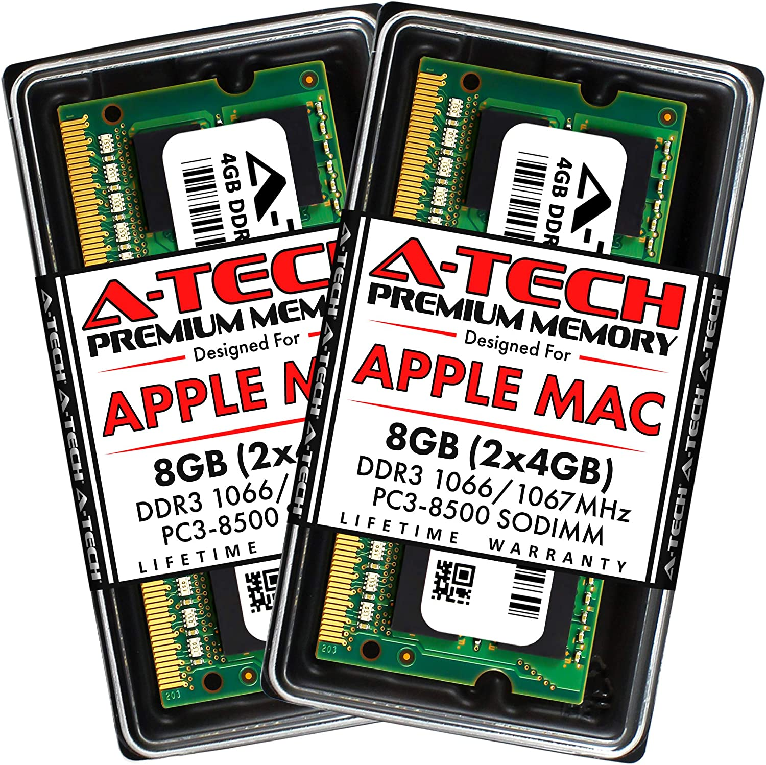 A-Tech 8GB Kit (2x4GB) DDR3 1066MHz / 1067MHz SODIMM PC3-8500 RAM for Apple MacBook, MacBook Pro, iMac, Mac Mini (Late 2008, Early/Mid/Late 2009, Mid 2010)