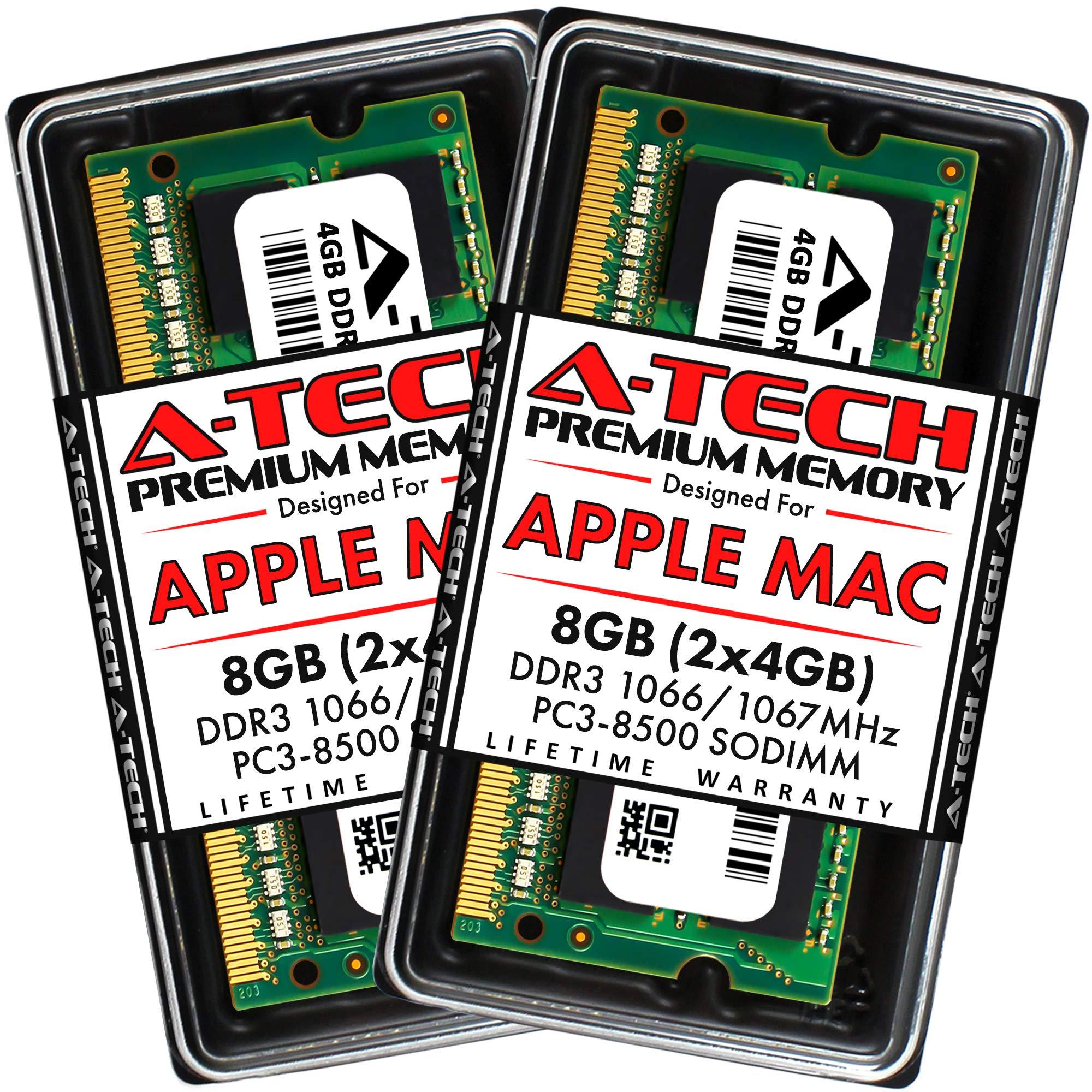 A-Tech 8GB (2 x 4GB) PC3-8500 DDR3 1066/1067 MHz RAM for MacBook, MacBook Pro, iMac, Mac Mini (Late 2008, Early/Mid/Late 2009, Mid 2010)   204-Pin SODIMM Memory Kit