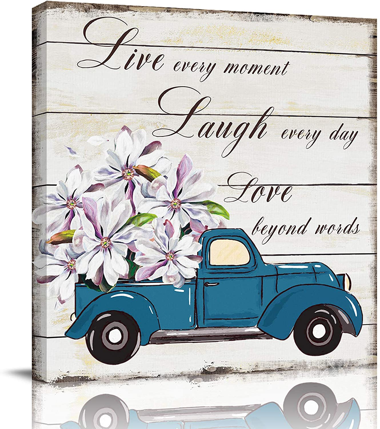 Bathroom Decor Canvas Wall Art, Blue Truck Carrying Magnolia Flowers Live Laugh Love Quotes Canvas Prints Gallery Artworks for Bedroom, Stretched and Framed Ready to Hang, 12x12 Inch Wall Decor
