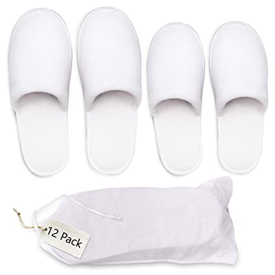 Bizarre.ly Spa Slippers (12 Pairs) with Drawstring Bags - White Fluffy Closed Toe Washable Slippers - Two Size(S, L) Fits Most Men, Women - Perfect for Bathroom, Guests, Travel, Home, Hotel Use | Slippers