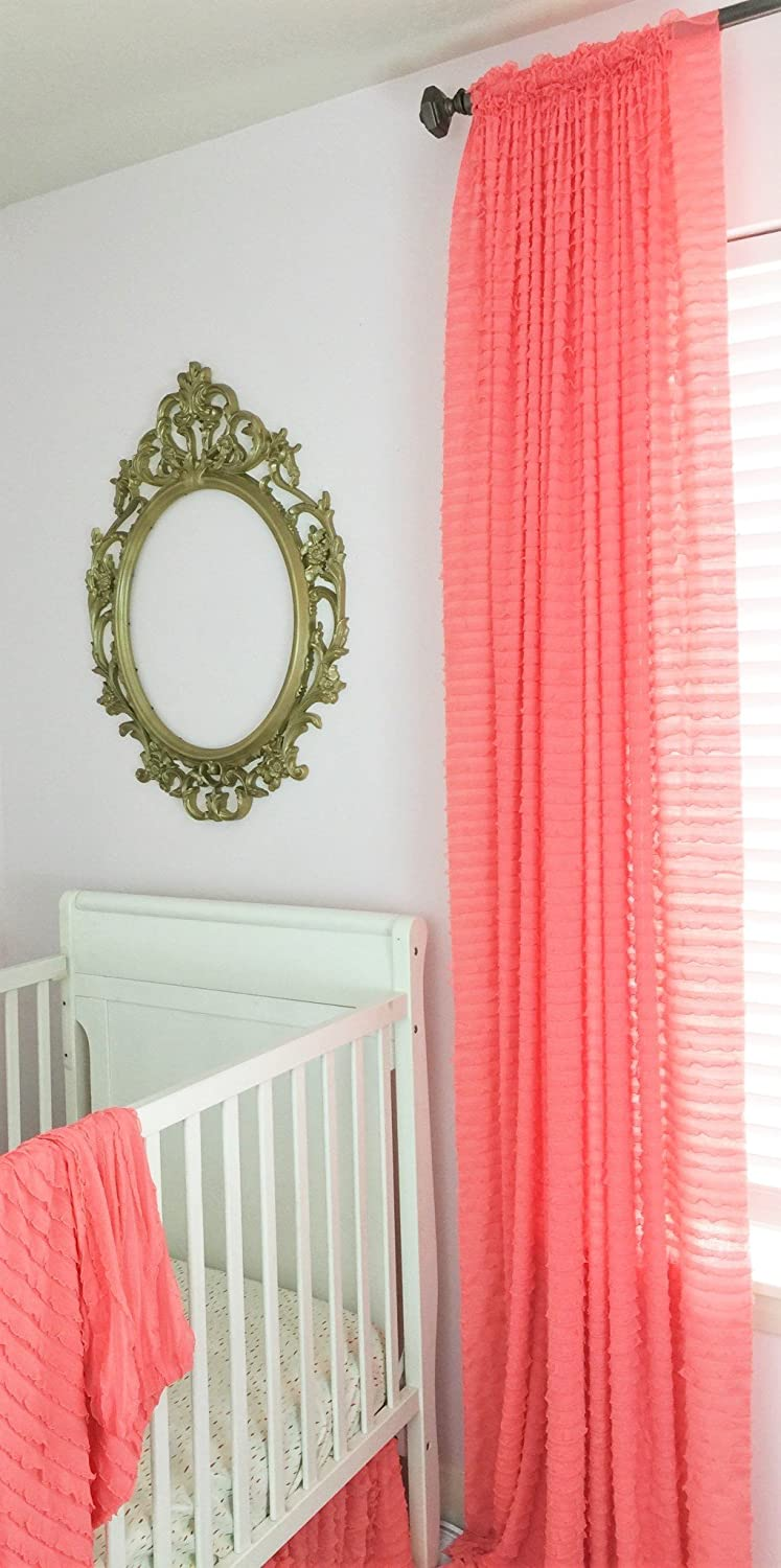 Light pink ruffled curtains - Light Coral Ruffle Curtain 84 Wrinkle Free Shabby Chic Sheer Window Drapery Treatment For Girls
