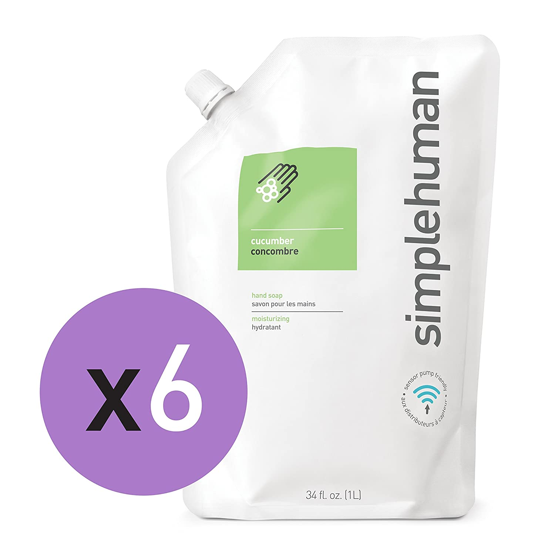 simplehuman Moisturizing Liquid Hand Soap Refill Pouch, Lavender (6 Pack) CT1022MC