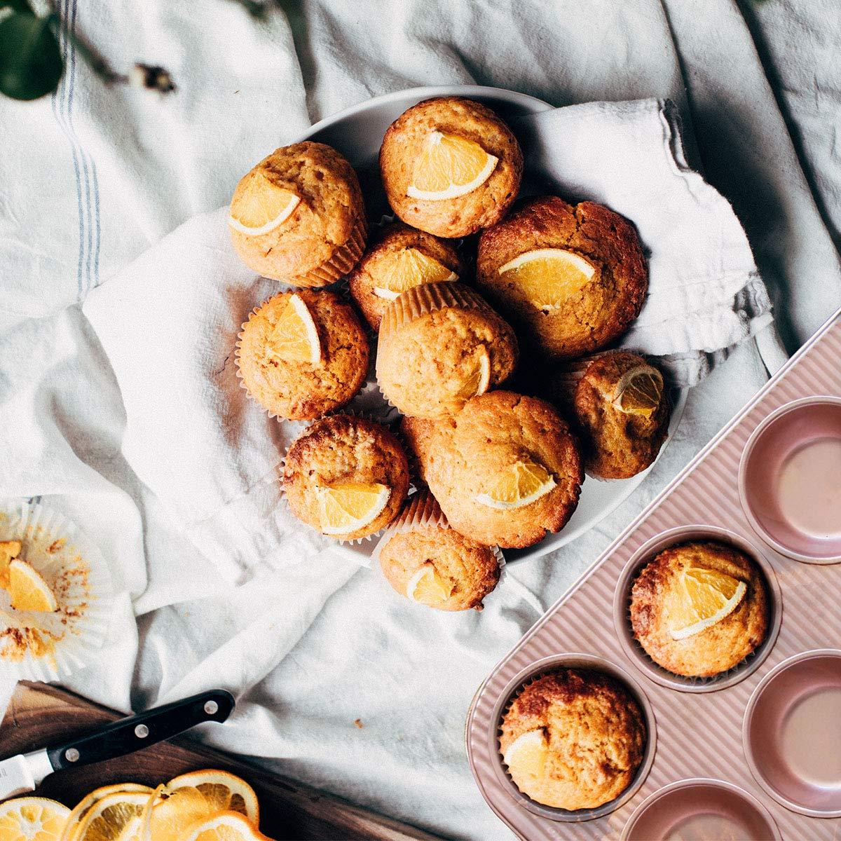 Bakeware Set, TOPTIER 6 Piece Nonstick Baking Pan Sets with Cookie Baking Sheets, Muffin Pan, Loaf Pan, Round Cake Pan, Roasting Pan for Baking | Prime Housewarming & Wedding Gift, Rose Gold by toptier (Image #7)